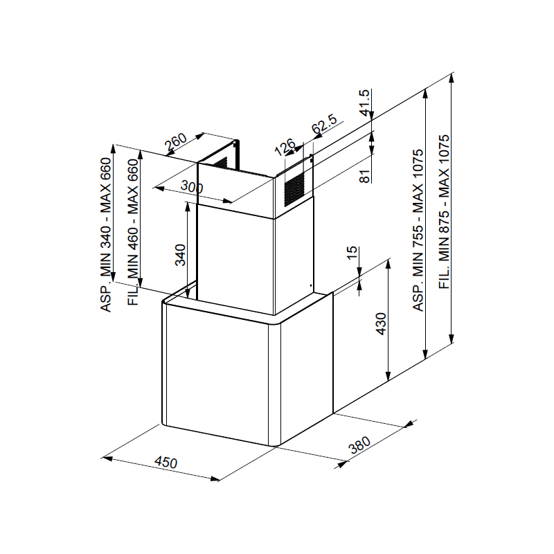 Faber H430xW450xD380 Lithos Wall Mounted Hood additional image 1