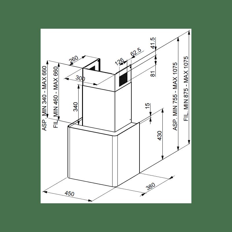 Faber H430xW450xD380 Lithos Wall Mounted Hood - Black Matt additional image 1