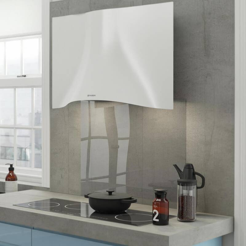 Faber H573xW898xD361 Veil Wall-mounted Cooker Hood - White Corian additional image 1