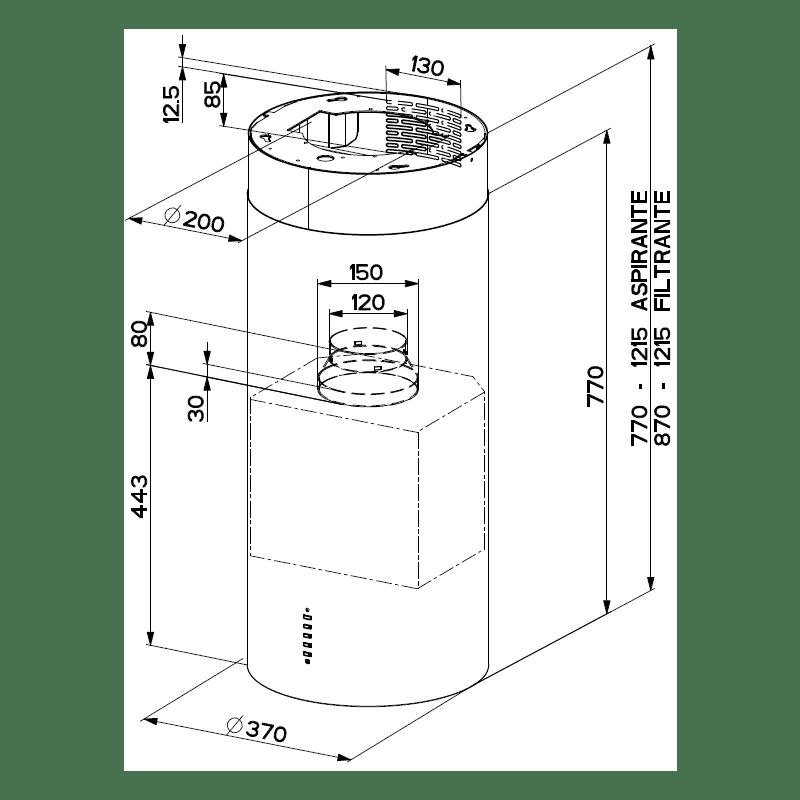 Faber H770xW370xD370 Cylindra Isola Island Hood - Concrete additional image 1