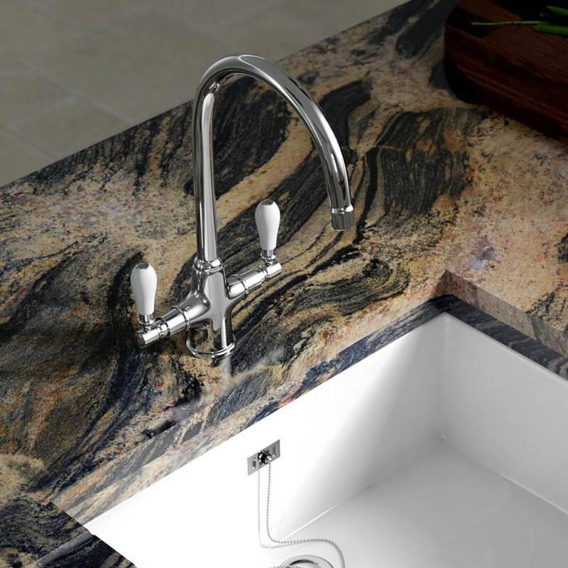 Fortuna Tap Chrome with White Handles - High/Low Pressure additional image 8