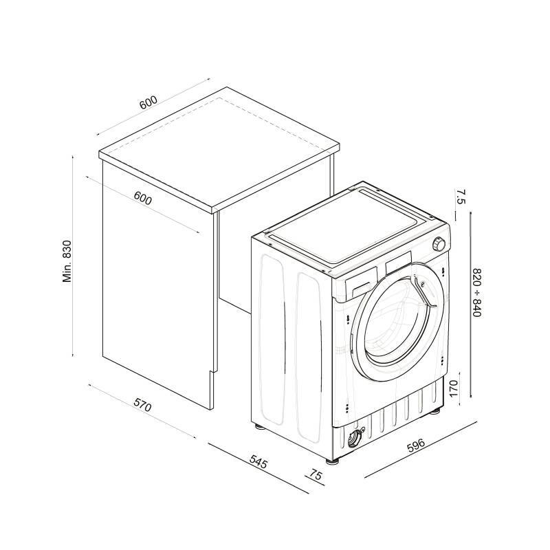 Hoover H820xW600xD525 Integrated Washer Dryer (8kg) additional image 4