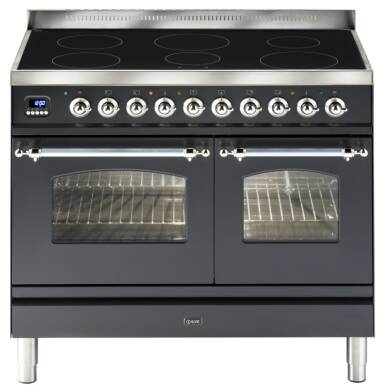 ILVE Mil 100 Twin 6 Zone Induction Black Mt Chrome