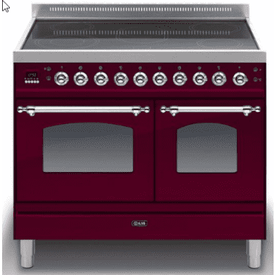 ILVE Mil 100 Twin 6 Zone Induction Burgundy Chrome