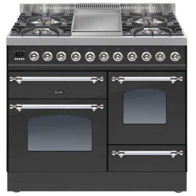 ILVE Mil Dual Fuel 100 4 Burner Fry Top Black Mt Chrome
