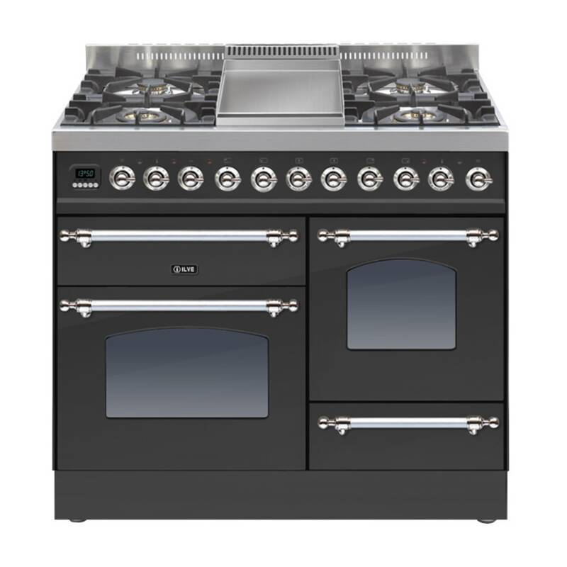 ILVE Mil Dual Fuel 100 4 Burner Fry Top Black Mt Chrome primary image