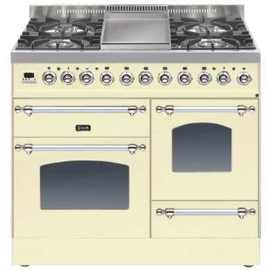 ILVE Mil Dual Fuel 100 4 Burner Fry Top Cream Chrome