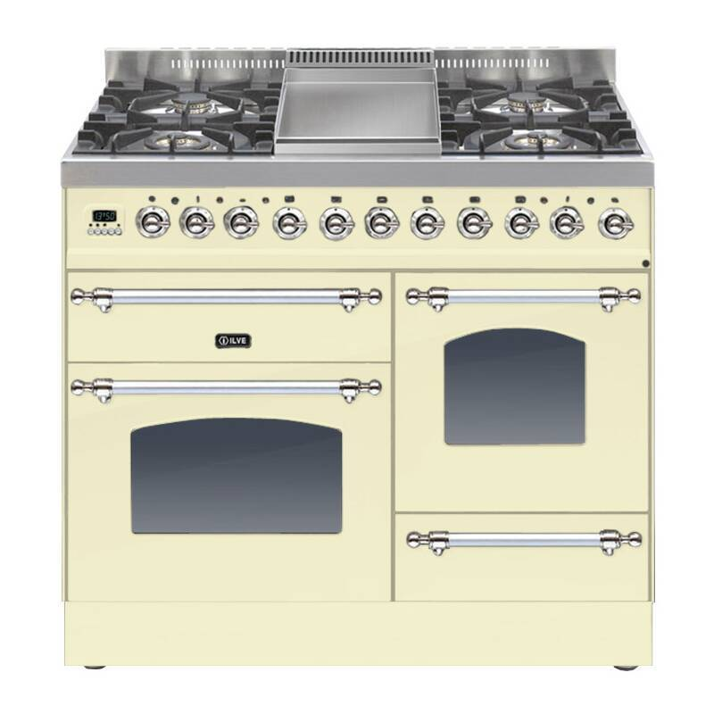ILVE Mil Dual Fuel 100 4 Burner Fry Top Cream Chrome primary image
