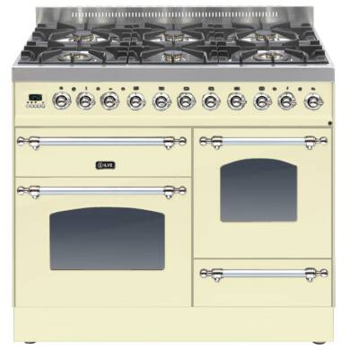 ILVE Mil Dual Fuel 100 6 Burner Cream Chrome