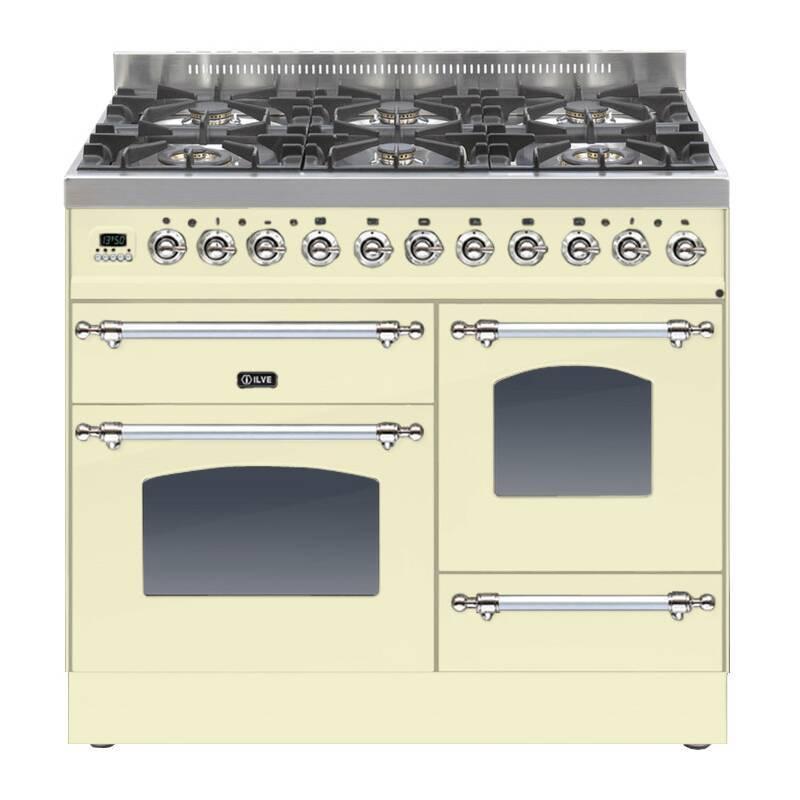ILVE Mil Dual Fuel 100 6 Burner Cream Chrome primary image