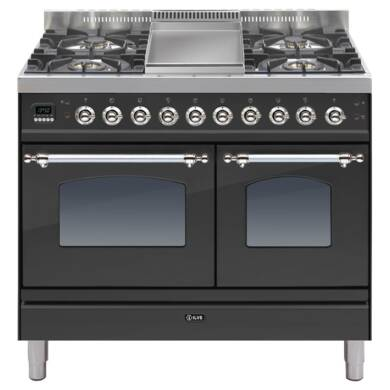 ILVE Mil Dual Fuel 100 Twin 4 Burner Fry Top Black Mt Chrome