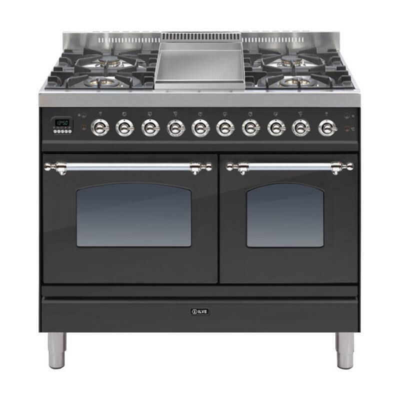 ILVE Mil Dual Fuel 100 Twin 4 Burner Fry Top Black Mt Chrome primary image