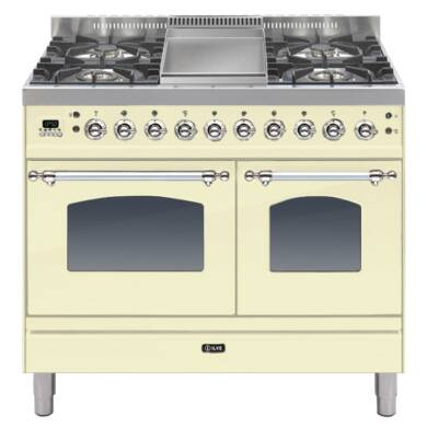 ILVE Mil Dual Fuel 100 Twin 4 Burner Fry Top Cream Chrome