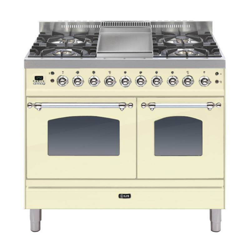 ILVE Mil Dual Fuel 100 Twin 4 Burner Fry Top Cream Chrome primary image