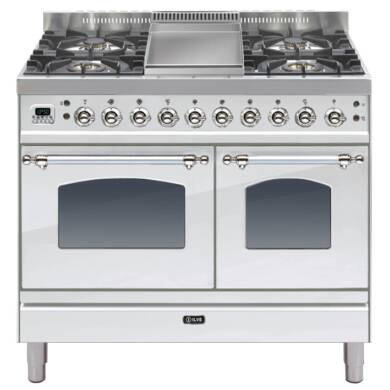 ILVE Mil Dual Fuel 100 Twin 4 Burner Fry Top S/Steel Chrome