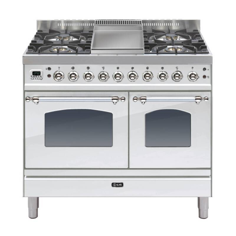 ILVE Mil Dual Fuel 100 Twin 4 Burner Fry Top S/Steel Chrome primary image