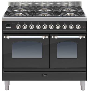ILVE Mil Dual Fuel 100 Twin 6 Burner Black Mt Chrome