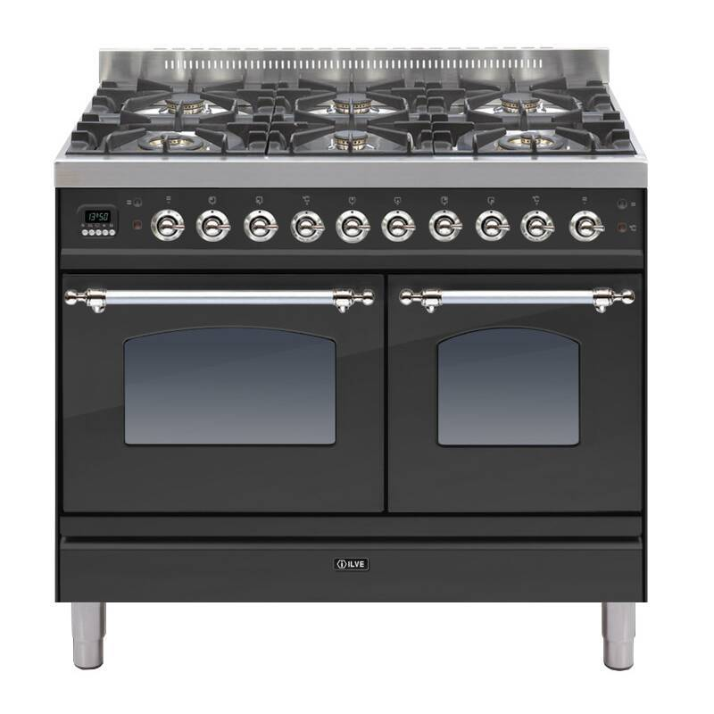 ILVE Mil Dual Fuel 100 Twin 6 Burner Black Mt Chrome primary image