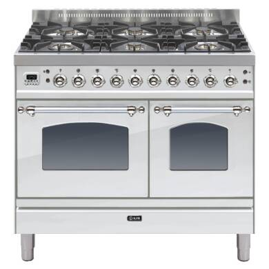 ILVE Mil Dual Fuel 100 Twin 6 Burner S/Steel Chrome