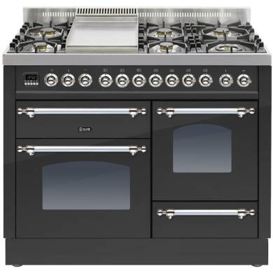 ILVE Mil Dual Fuel 110 6 Burner Fry Top Black Mt Chrome