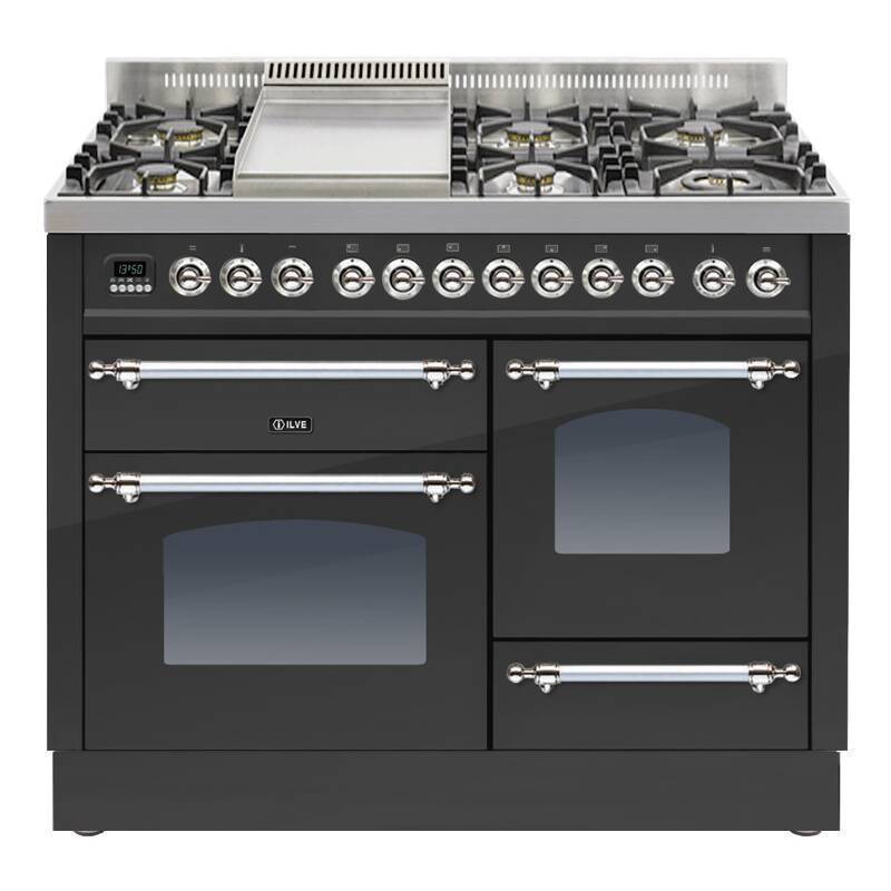 ILVE Mil Dual Fuel 110 6 Burner Fry Top Black Mt Chrome primary image