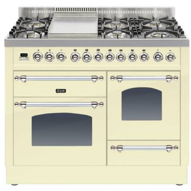 ILVE Mil Dual Fuel 110 6 Burner Fry Top Cream Chrome