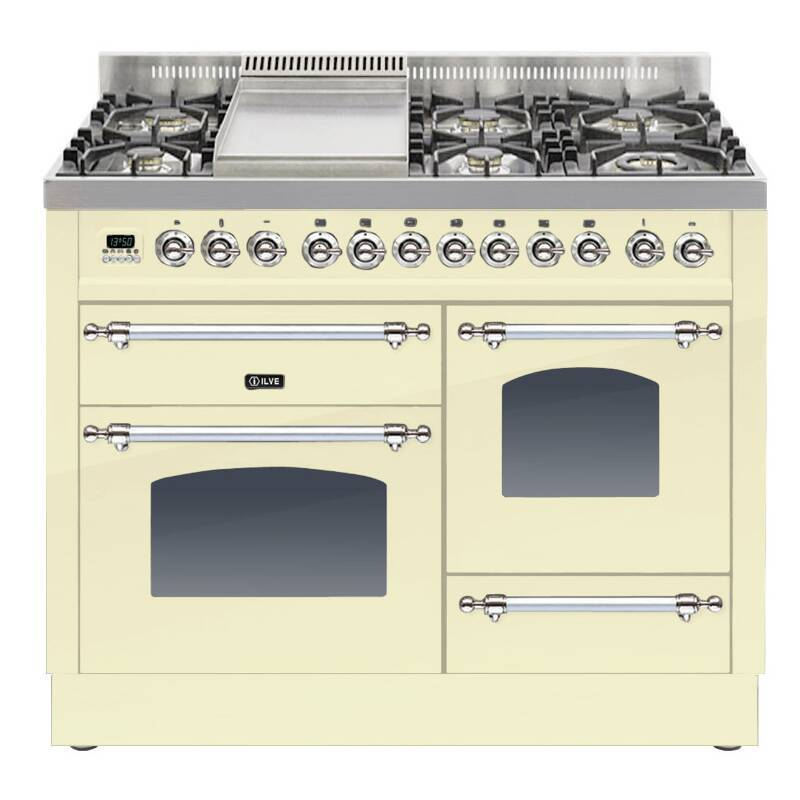 ILVE Mil Dual Fuel 110 6 Burner Fry Top Cream Chrome primary image