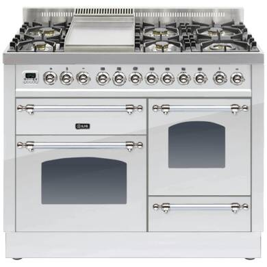 ILVE Mil Dual Fuel 110 6 Burner Fry Top S/St Chrome