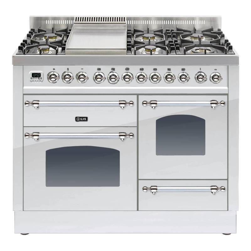 ILVE Mil Dual Fuel 110 6 Burner Fry Top S/St Chrome primary image