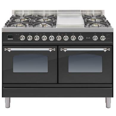ILVE Mil Dual Fuel 120 6 Burner Fry Top Black Mt Chrome