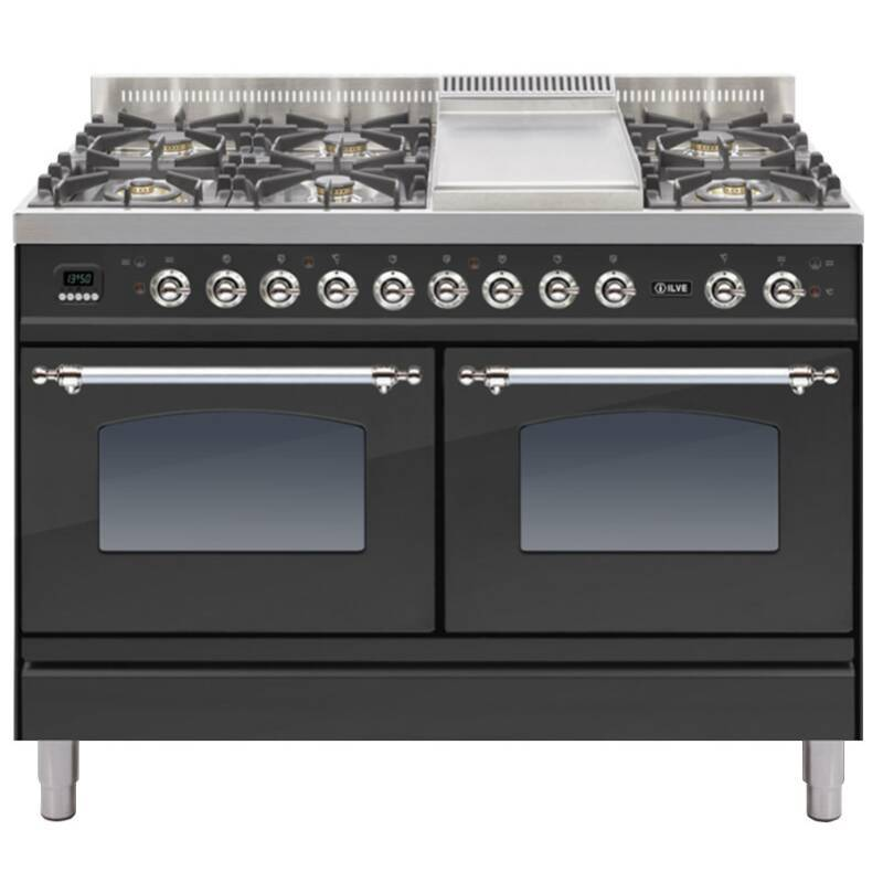 ILVE Mil Dual Fuel 120 6 Burner Fry Top Black Mt Chrome primary image