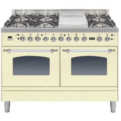 ILVE Mil Dual Fuel 120 6 Burner Fry Top Cream Chrome