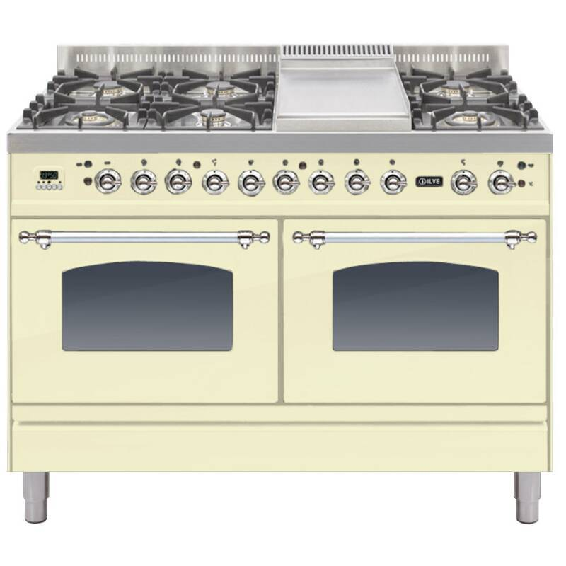 ILVE Mil Dual Fuel 120 6 Burner Fry Top Cream Chrome primary image