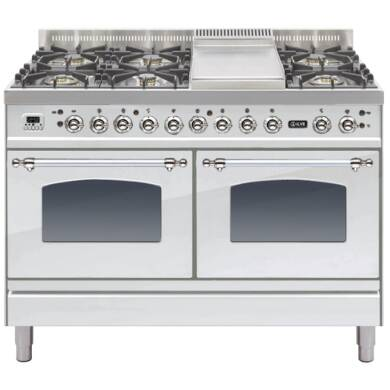 ILVE Mil Dual Fuel 120 6 Burner Fry Top S/St Chrome