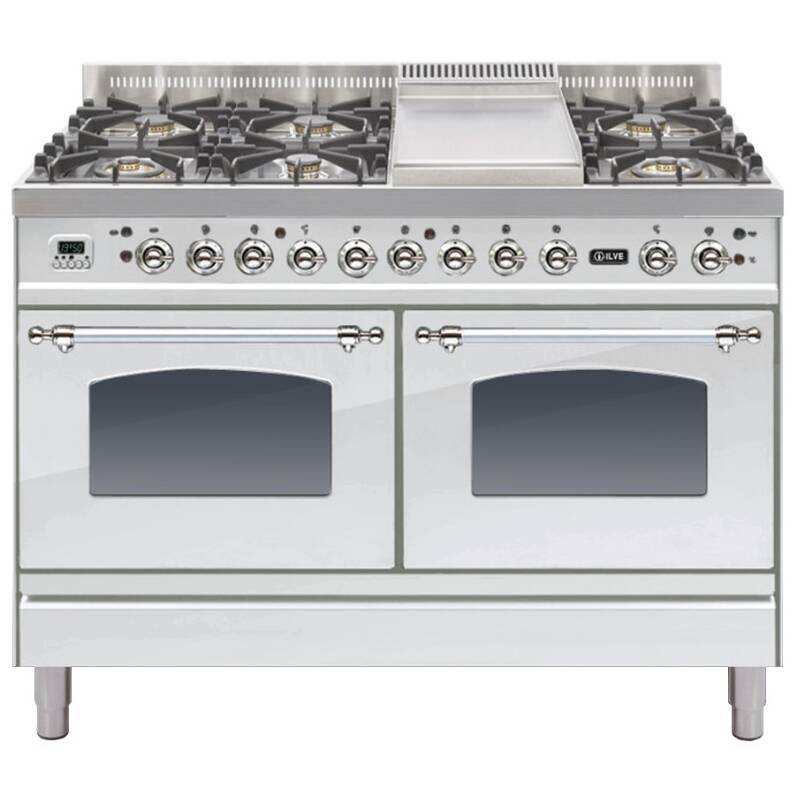 ILVE Mil Dual Fuel 120 6 Burner Fry Top S/St Chrome primary image