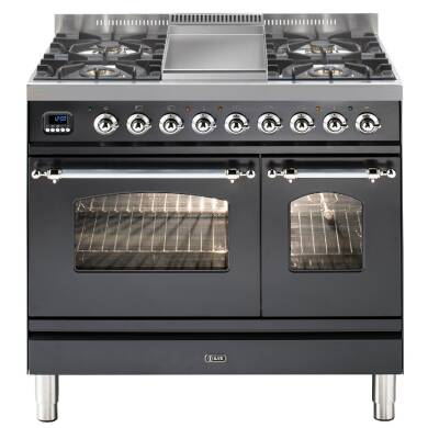 ILVE Mil Dual Fuel 90 Twin 4 Burner Fry Top Black Mt Chrome