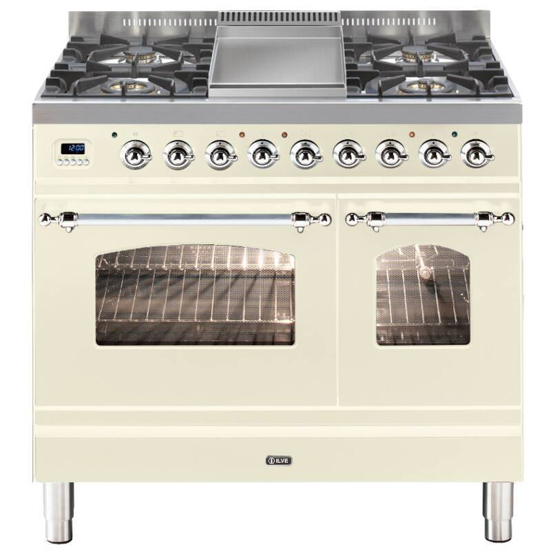 ILVE Mil Dual Fuel 90 Twin 4 Burner Fry Top Cream Chrome primary image