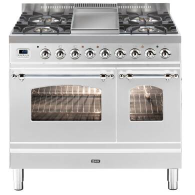 ILVE Mil Dual Fuel 90 Twin 4 Burner Fry Top S/Steel Chrome
