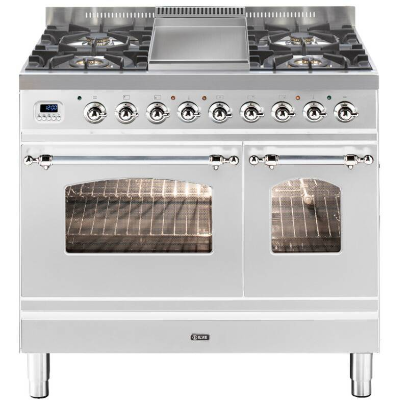 ILVE Mil Dual Fuel 90 Twin 4 Burner Fry Top S/Steel Chrome primary image