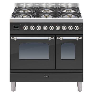 ILVE Mil Dual Fuel 90 Twin 6 Burner Black Mt Chrome
