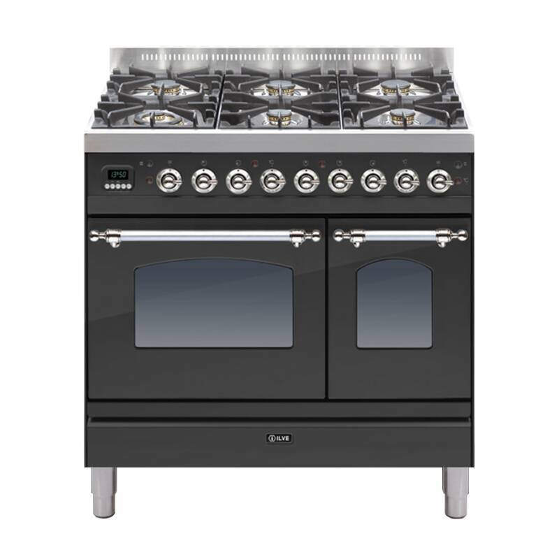 ILVE Mil Dual Fuel 90 Twin 6 Burner Black Mt Chrome primary image