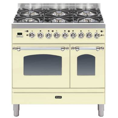 ILVE Mil Dual Fuel 90 Twin 6 Burner Cream Chrome