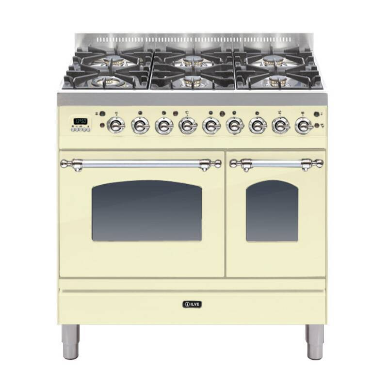 ILVE Mil Dual Fuel 90 Twin 6 Burner Cream Chrome primary image