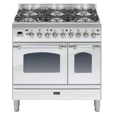 ILVE Mil Dual Fuel 90 Twin 6 Burner S/Steel Chrome