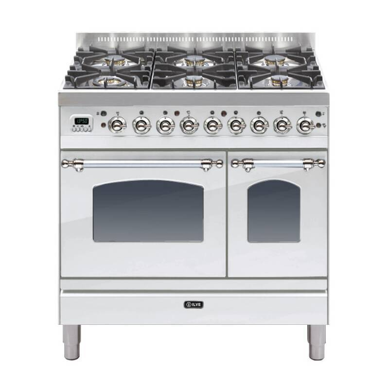 ILVE Mil Dual Fuel 90 Twin 6 Burner S/Steel Chrome primary image