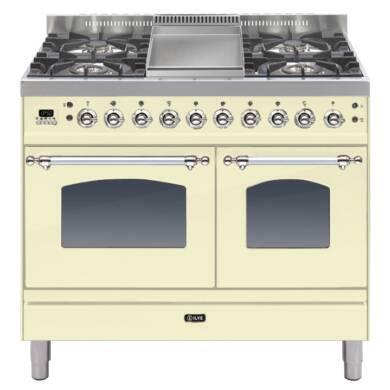 ILVE Milano 100cm Twin Range Cooker 4 Burner Fry Top Cream Chrome