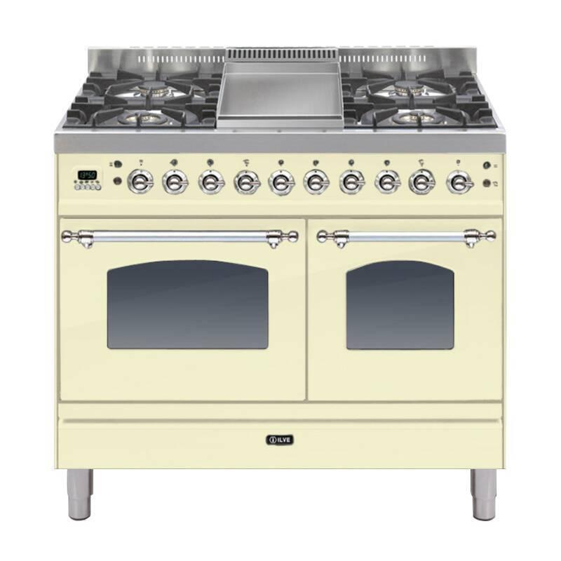 ILVE Milano 100cm Twin Range Cooker 4 Burner Fry Top Cream Chrome primary image