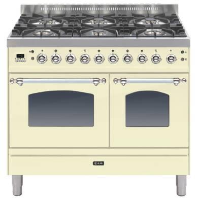 ILVE Milano 100cm Twin Range Cooker 6 Burner Cream Chrome - PDN1006E3/AX