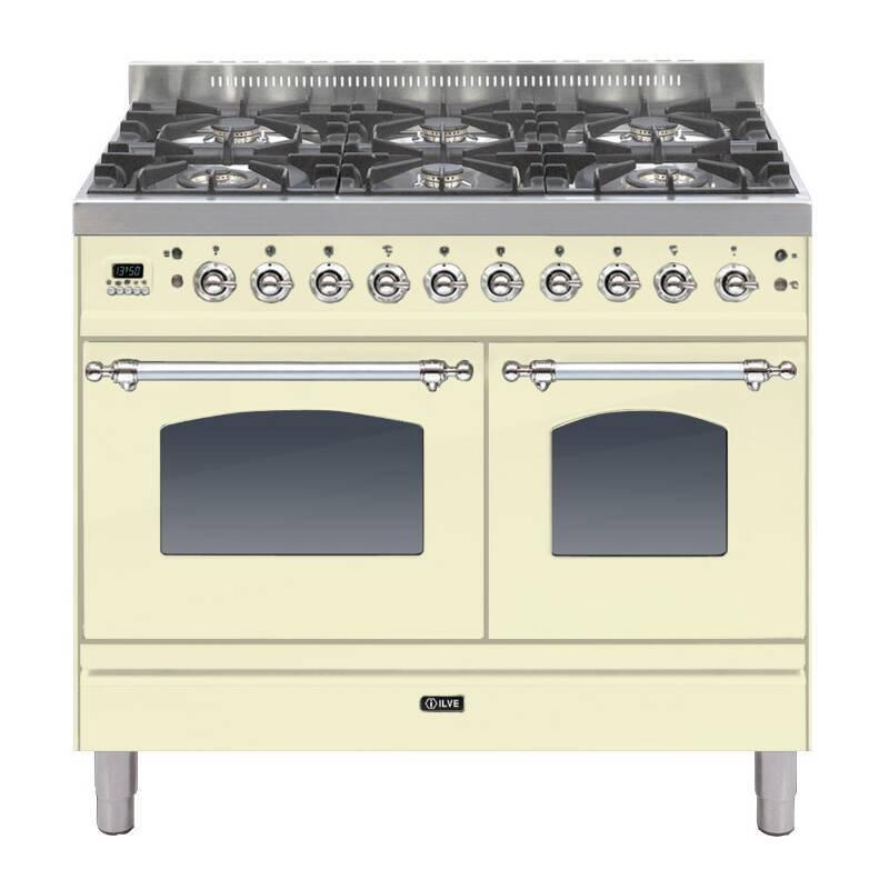 ILVE Milano 100cm Twin Range Cooker 6 Burner Cream Chrome - PDN1006E3/AX primary image