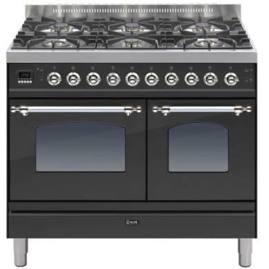 ILVE Milano 100cm Twin Range Cooker 6 Burner Matt Black Chrome - PDN1006E3/MX